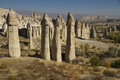 Love valley in cappadocia turkey stone columns of Royalty Free Stock Images