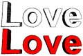Love vector illustration of hand drawn word intwo colors Stock Photography