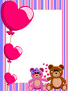 Love vertical frame teddy bears illustration featuring decorative valentine or border with a couple of in hand in hand and a set Stock Image