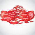 Love way from st valentine on the road the laid out hearts visible through glasses valentin in graphics Royalty Free Stock Photography