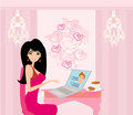Love in web girl talking with her ​​lover on the internet Stock Images