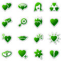 Love web icons, green sticker series Royalty Free Stock Photography