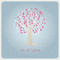 Love in winter valentines day card with tree and hearts vector illustration Royalty Free Stock Images