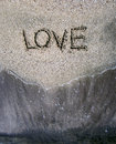 Love word in the beach Royalty Free Stock Image