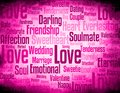 Love word cloud clove with different related words synonyms on grunge pink background Royalty Free Stock Images