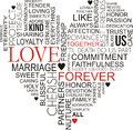 Love word cloud in the shape of a heart on an isolated white background Stock Photo