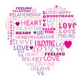 Love in word collage composed in heart shape Stock Photo