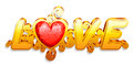 Love word made of gold and red heart shaped gem Stock Image