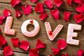 Love word with red petals valentines day concept Stock Photography