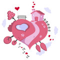 Love world heart shaped earth a lovely day on a a cartoon with a bench of lovers a house a lake trees and clouds isolated on white Stock Photos