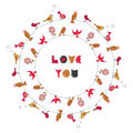 Love you birds round frame. Royalty Free Stock Photo