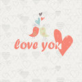 Love you card with cute birds and hearts in retro style Royalty Free Stock Photos