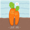 Love you card with cute growing carrots Royalty Free Stock Photo