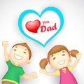 Love you dad illustration of kids wishing Stock Photos