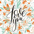 Love you vector lettering card.