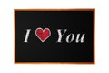 Love you handwritten with chalk on blackboard background Royalty Free Stock Photos