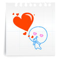 Love you kiss love cartoon on paper note hand draw Stock Photos