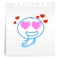 Love you so mach cartoon on paper note hand draw Royalty Free Stock Photography