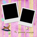 Love you mom in spanish two instant photo frame sentence te quiero mama pink child background with antique toys Royalty Free Stock Image