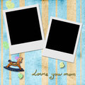 Love you mom two instant photo frame in blue background child with antique toys Stock Image