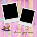 Love you mom two instant photo frames in pink frame child background with antique toys Stock Photography