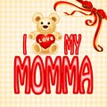 Love you mumma card vector illustration of teddy bear in momma Stock Photography