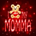 Love you mumma card vector illustration of teddy bear in momma Stock Image