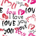 Love You Pattern With Hearts Grunge Seamless Valentines Day Background Royalty Free Stock Photo