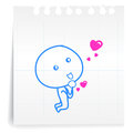 Love you please cartoon on paper note hand draw Royalty Free Stock Image
