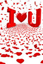 Love you red heart cupid hearts falling Royalty Free Stock Photo