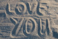 Love you in sand Stock Photo