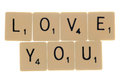 Love you scrabble letters Royalty Free Stock Photo