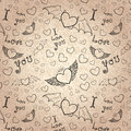 Love you seamless black on paper devil and angel hearts doodle vector background lines texture Royalty Free Stock Photos