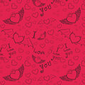 Love you seamless black on pink hand drawn devil and angel hearts doodle vector background Royalty Free Stock Photos