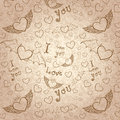 Love you seamless sepia on paper hand drawn devil and angel hearts doodle texture vector background Stock Photo