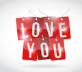 Love you sign tags illustration design over a white background Royalty Free Stock Photo