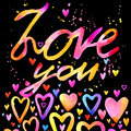 Love you text. lettering colorful background. Valentines day.