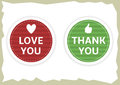 Love You And Thank You Stickers