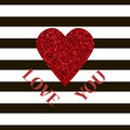 I love you message and heart golden glitter design