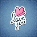 Love you vector text on denim texture Royalty Free Stock Photo