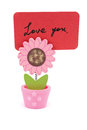 Love you words written on red paper of sun flower pot clip Royalty Free Stock Photo
