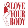 Love your body. Vector hand drawn illustration of fat woman in swimsuit isolated. Royalty Free Stock Photo