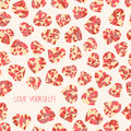 Love yourself selfish postcard valentine s day seamless card copy space for text low poly polygonal hearts made of triangles Royalty Free Stock Images