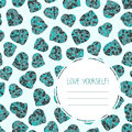 Love yourself selfish postcard valentine s day seamless card copy space for text low poly polygonal hearts made of triangles Royalty Free Stock Photos
