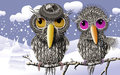 Lovebirds Keeping Warmth In Winter Royalty Free Stock Images