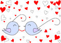 Loved nestling glasses with heart background blue isolated Royalty Free Stock Photos