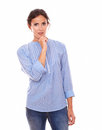 Lovely adult lady wondering and holding her chin Royalty Free Stock Photo