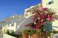 Lovely ambiance to small hotel on santorini greece picturesque setting in front of a villa in imerovigli village picture taken Stock Images