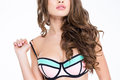 Lovely attractive woman with beautiful curly long hair in bra Royalty Free Stock Photo