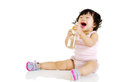 Lovely baby cute holding a bottle of water Stock Photo